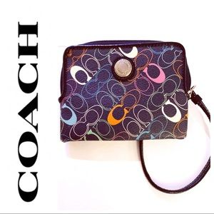 RARE! Coach Navy and Rainbow C's Wallet gc28